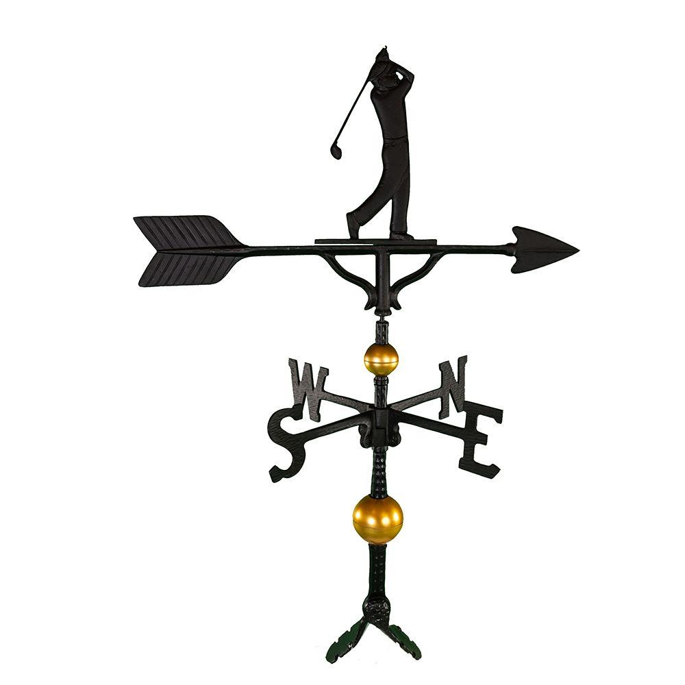 32 in. Deluxe Black Golfer Weathervane