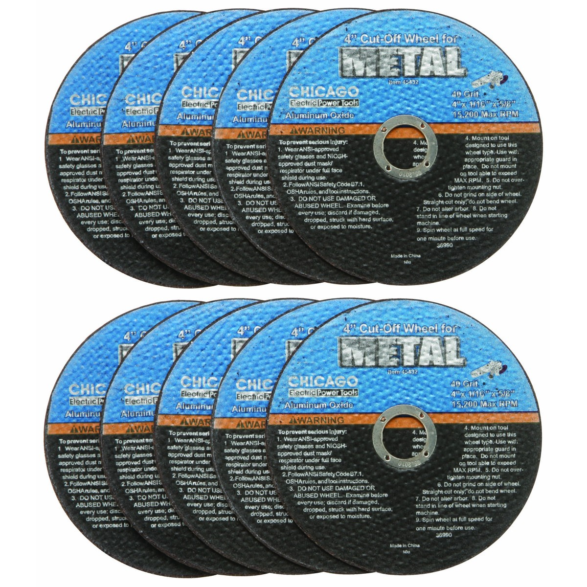 4 in. 40 Grit Metal Cut-off Wheel 10 Pc